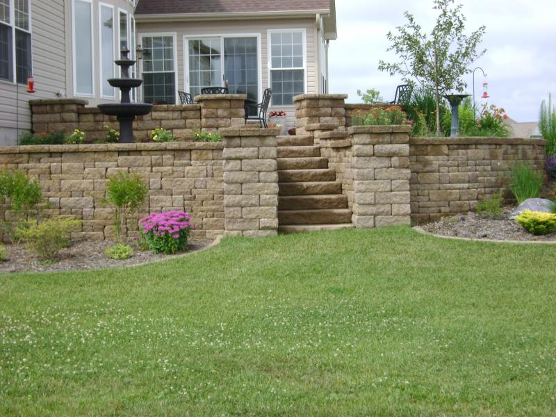 retaining wall, columns, steps, patio