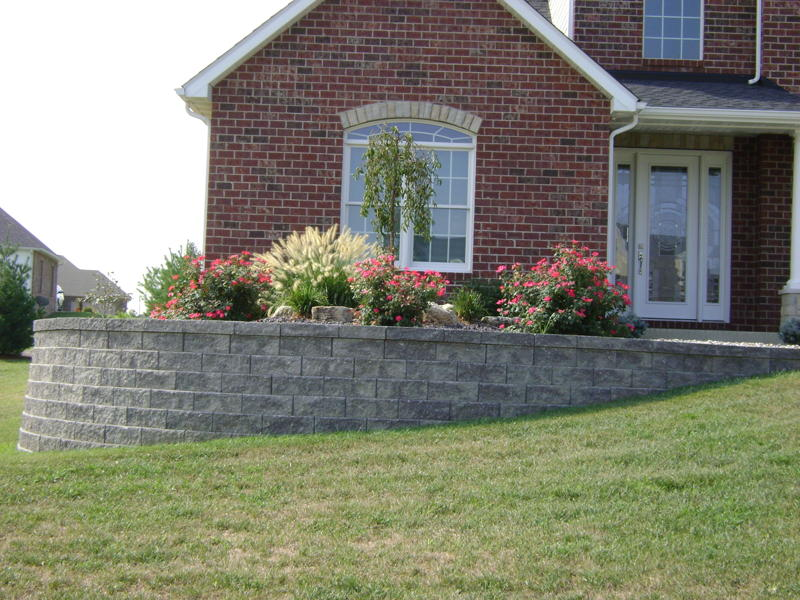 Front retaining wall and plant installation