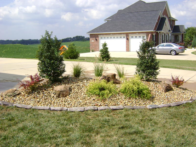 Landscaped Berm with plants