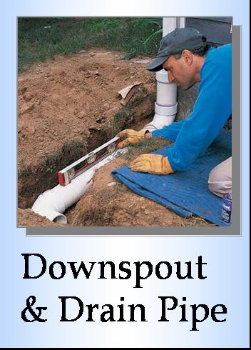 Corrugated Downspout installation, drain pipe installation, burried