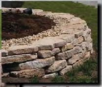 drywall stone stack flower bed border